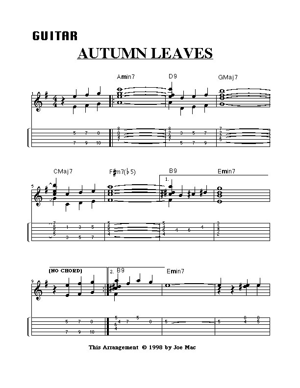 Autumn Leaves Solo Guitar Pdf File Xsonartys Blog