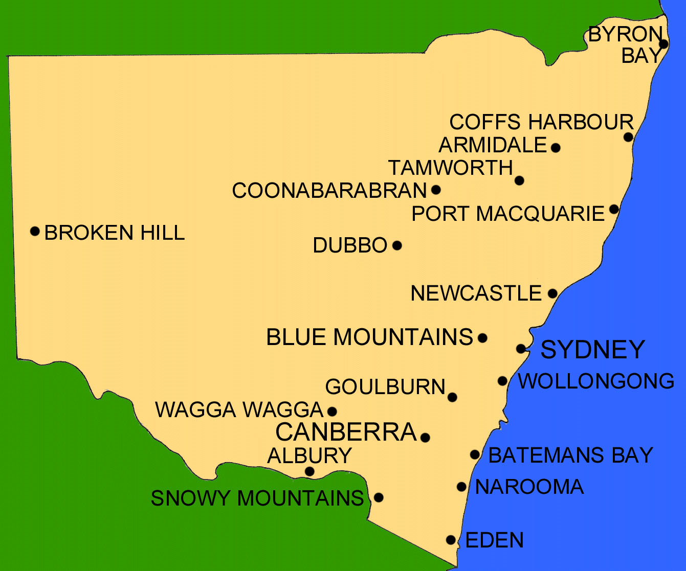Cities in nsw australia