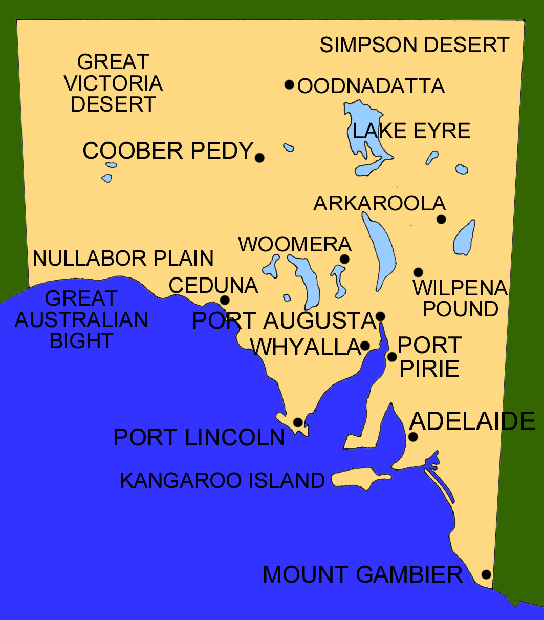 Map of southern australia with cities Map Of Southern Australia With Cities on