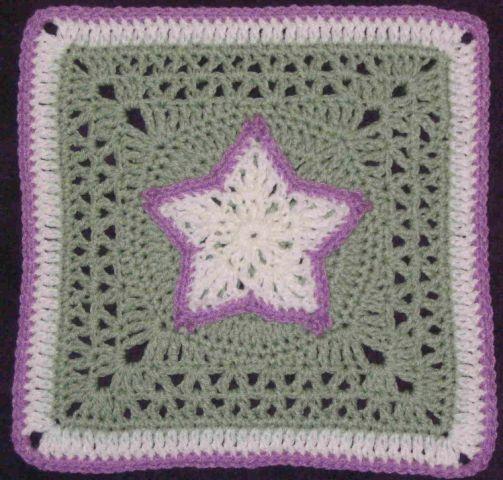 Chris Simons Star Overlay Square Pattern 12 Inch Crochet Square