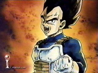 Vegeta Clenching A Fist Asserting That He Is The Prince Of