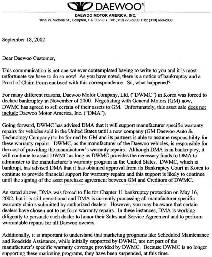 Gm motors bankruptcy for Bankruptcy letter of explanation template