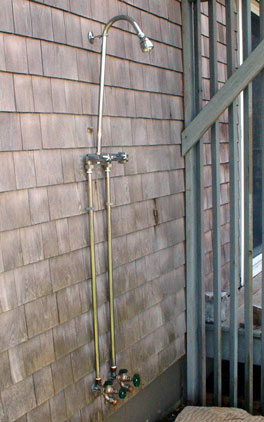 Here Is My Frost Proof Outdoor Shower With Handy Hot And Cold Faucets  Installed At My Cape Cod Home. See Photo At Right. Two Anti Siphon  Frost Proof ...