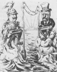 [Kaiser Wilhelm II und Präsident Teddy Roosevent, Karikatur]