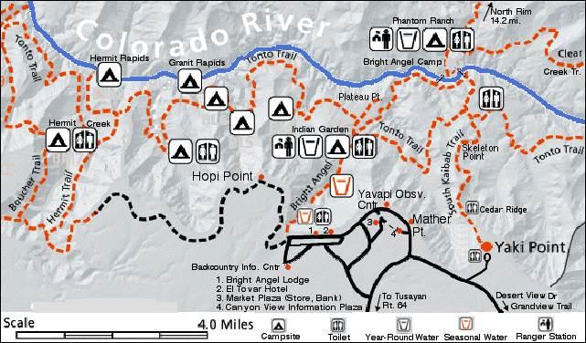 grand canyon hiking trails map Grand Canyon grand canyon hiking trails map