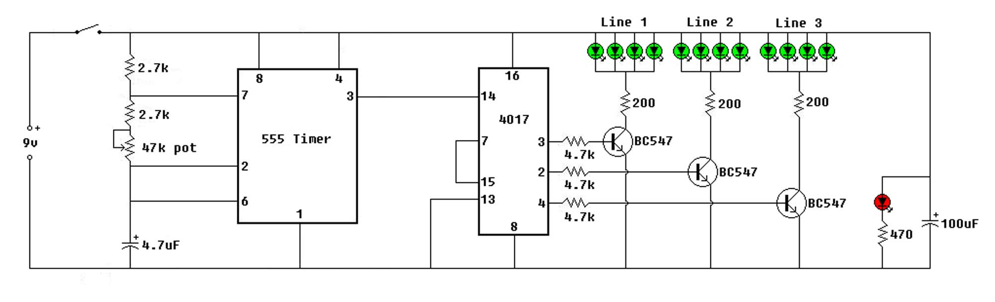 12au7 Ecc82 Tube Pre lifier Circuit moreover Three Led Flasher By 3 Transistor Astable Multivibrator further Watch likewise Traffic Lights Wiring Diagram in addition 1 8 Channel Led Sign Sequencer. on led sequencer circuit