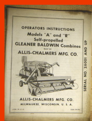 Manuals photo allis chalmers operators manual for gleaner baldwin model a r combines the manual has sections for adjusting the combine belt diagram publicscrutiny Images