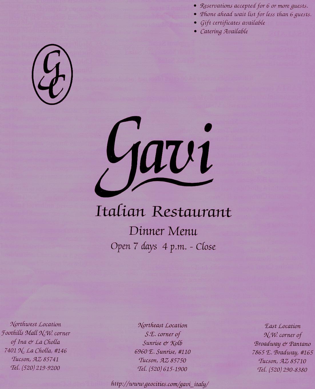 Gavi Italian Restaurant Menus
