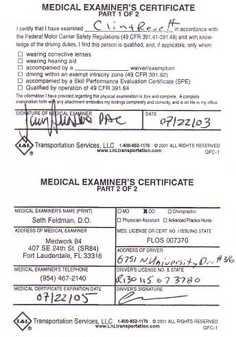 Department of Transportation Medical Examiner\'s Certificate