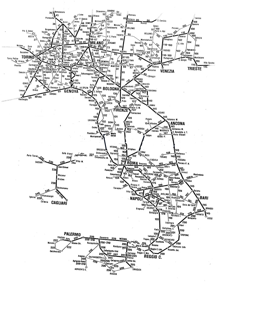 Map Of Italy With Train Routes.Italian Train Route Distance Map