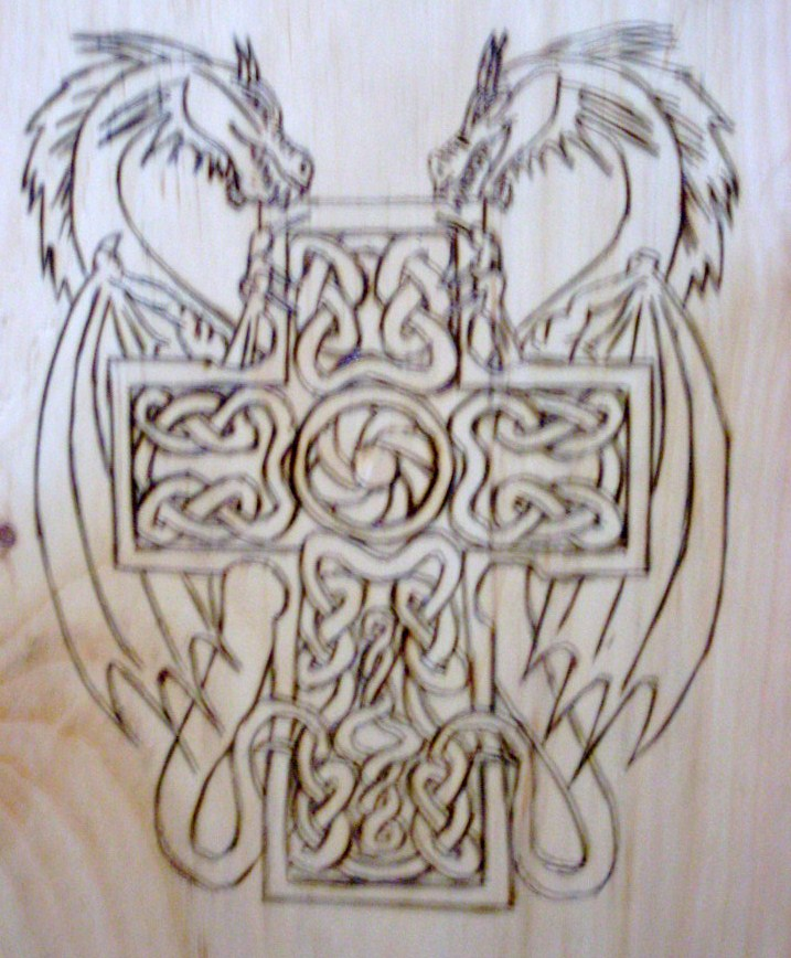"""pattern title """"Celtic Cross Dragons"""" Both pictures are the same wood ..."""