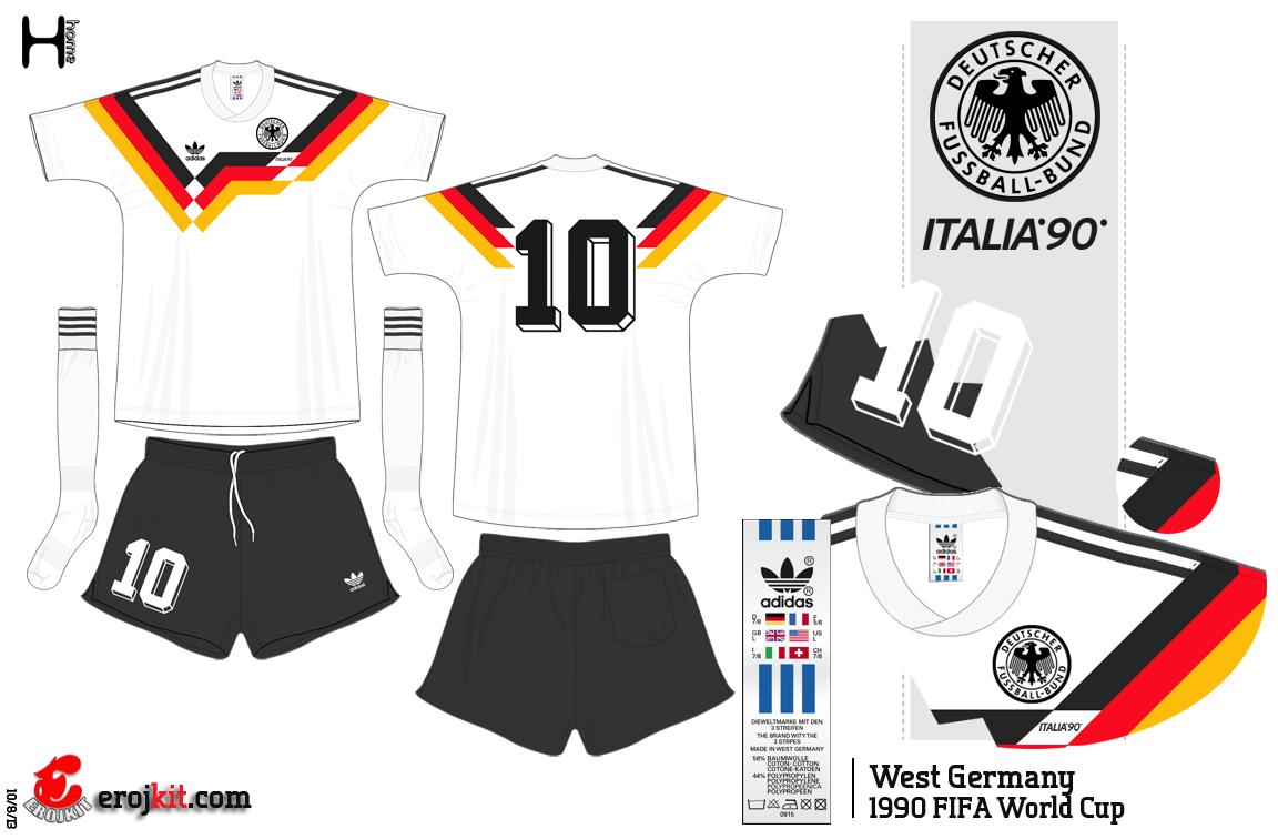 1bb0382e4f Alemanha Ocidental Tri-campeã Uniforme Alemanha 1990
