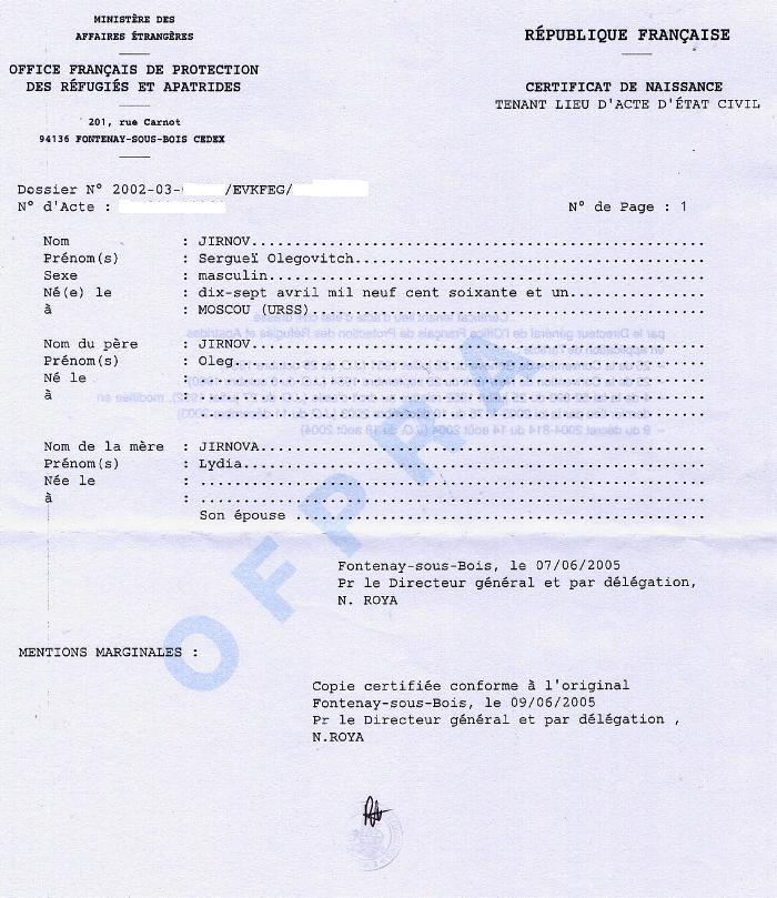 Certificat de naissance ofpra - Office francais de protection des refugies et apatrides ...