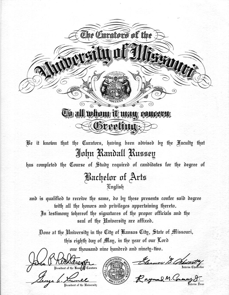 bachelor of english  university of missouri