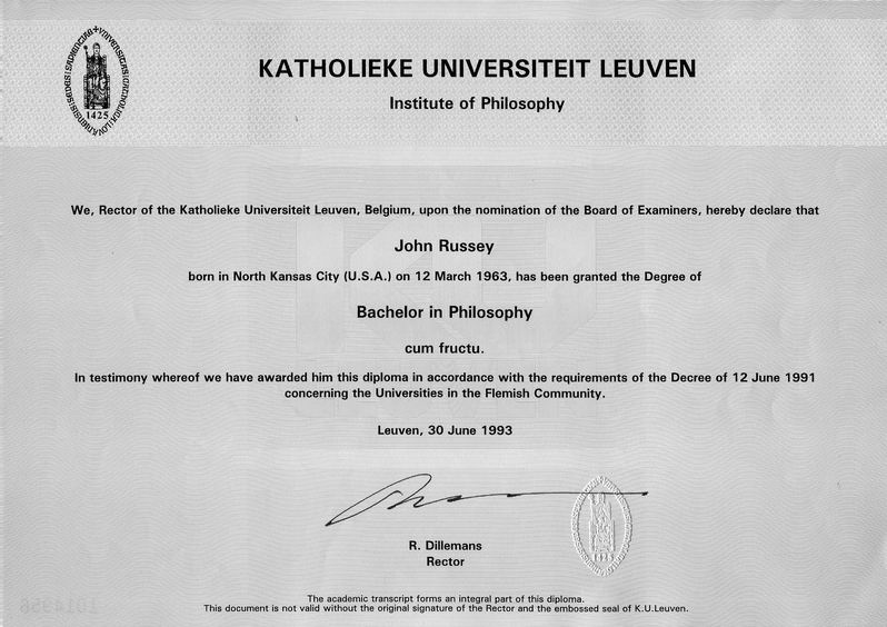 bachelor of philosophy  kul