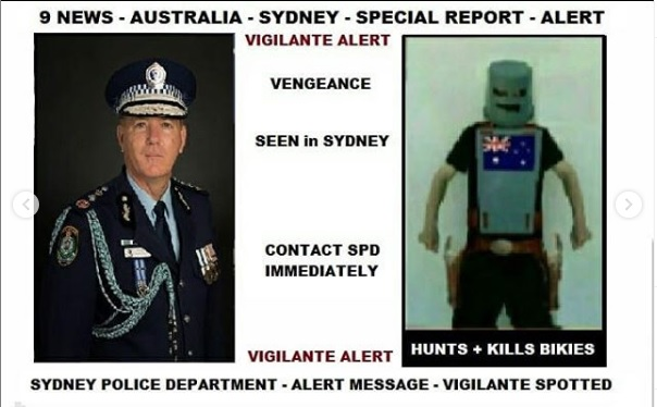 Vengenace - Most Wanted - BOLO - APB - Vigilante Spotted in Sydney Australia - Killing Bikies - The Snakes M.C.- ASHP - Australian Super Hero Project - URL - Aussie-SuperHero-Project.com