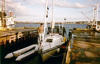 Edward checking the boat after docking