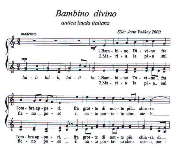 bambino divino is a lovely italian christmas carol joan has set many carols for ssa choir in traditional and contemporary harmonies - Italian Christmas Music