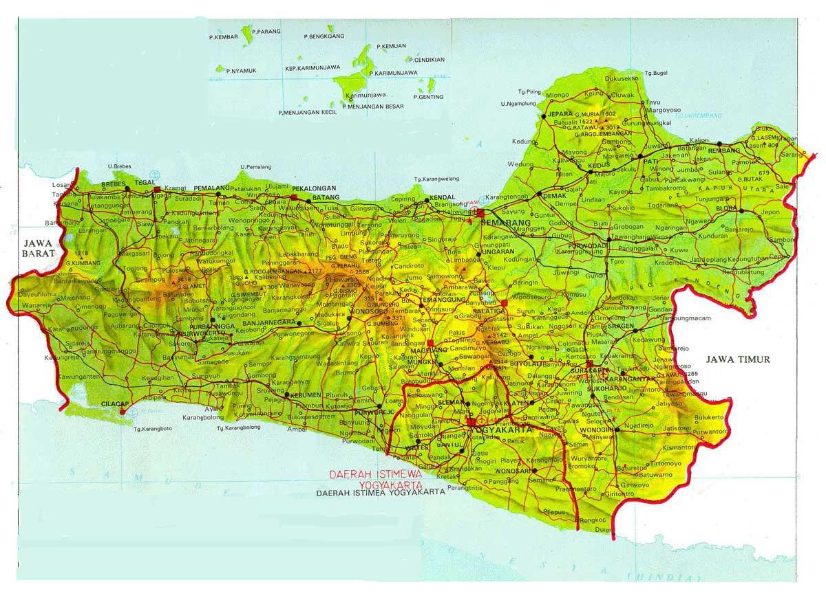 Peta lengkap Jawa Tengah