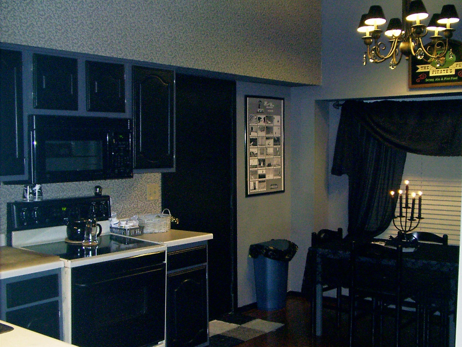 New orleans style kitchen - New Orleans Inspired Kitchen Medium Grey Walls With Dark Grey Ceiling And Black Cabinets Trim Black Shade Beaded Chandelier Jcp