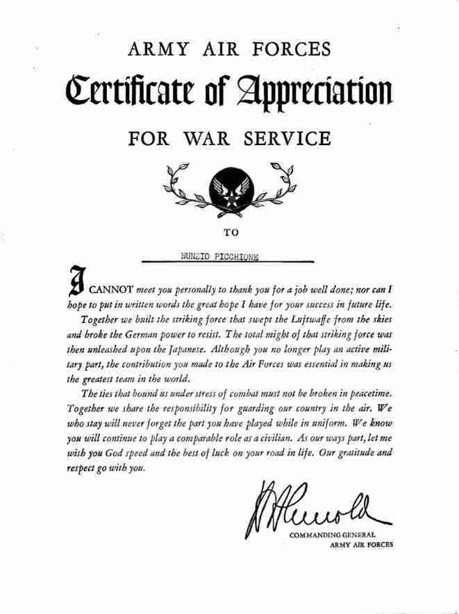 FatherSon Military Service Records – Army Certificate of Appreciation