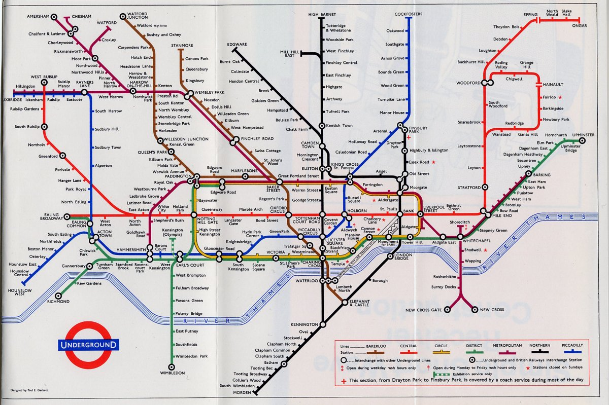 Large Tube Map Of London.Historical London Underground Maps