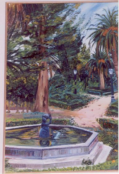 Fuente en Granada Óleo 65x55