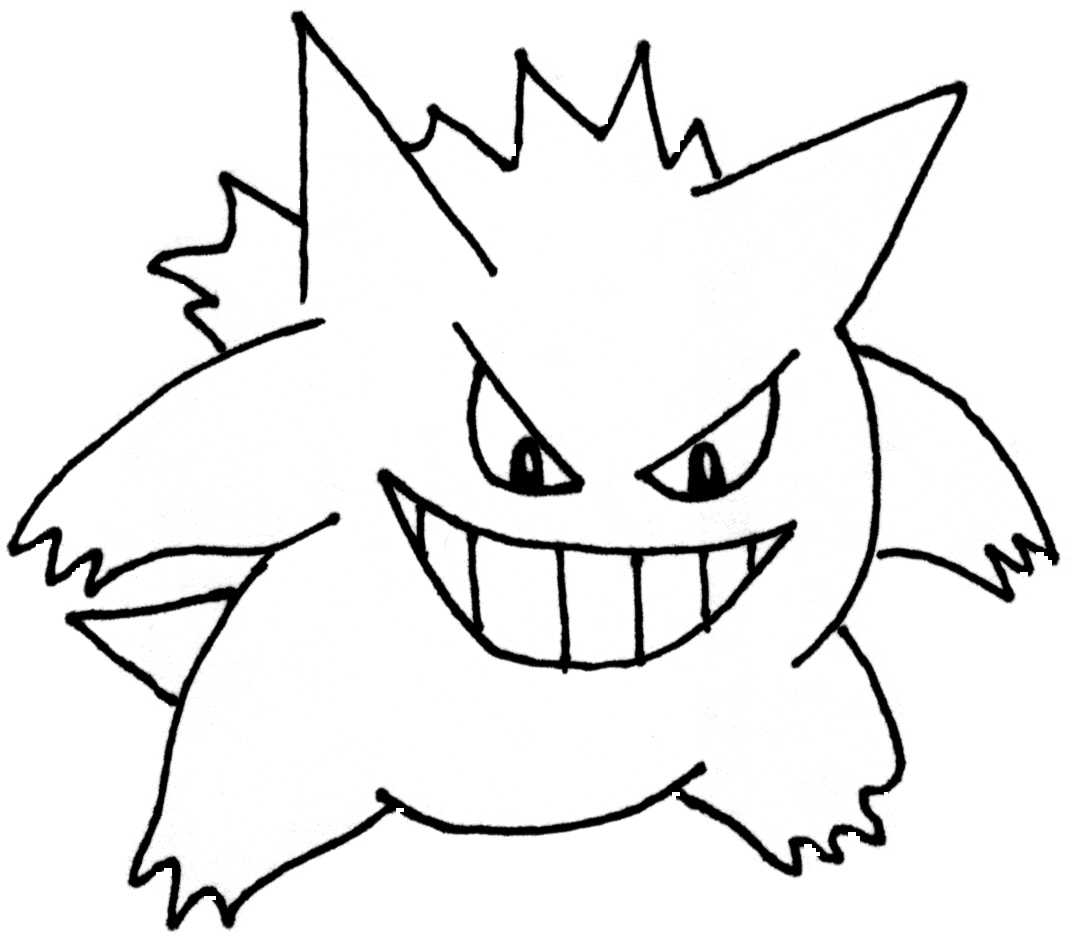 Pokemon coloring pages haxorus -  Mega Gengar Coloring Pages