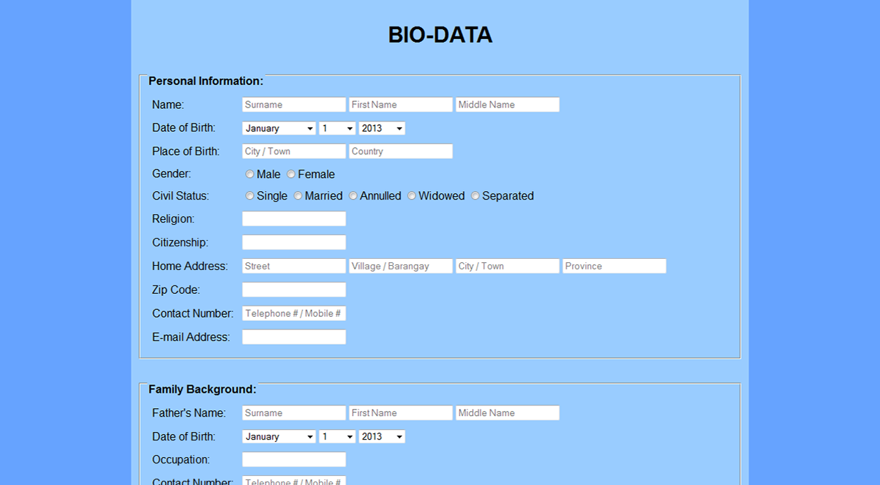 html portfolio i made my own biodata that also uses different form tags