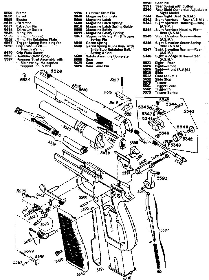 1911 pistol exploded view schematic