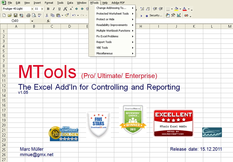 Click to view MTools Excel AddIn 1.045 screenshot