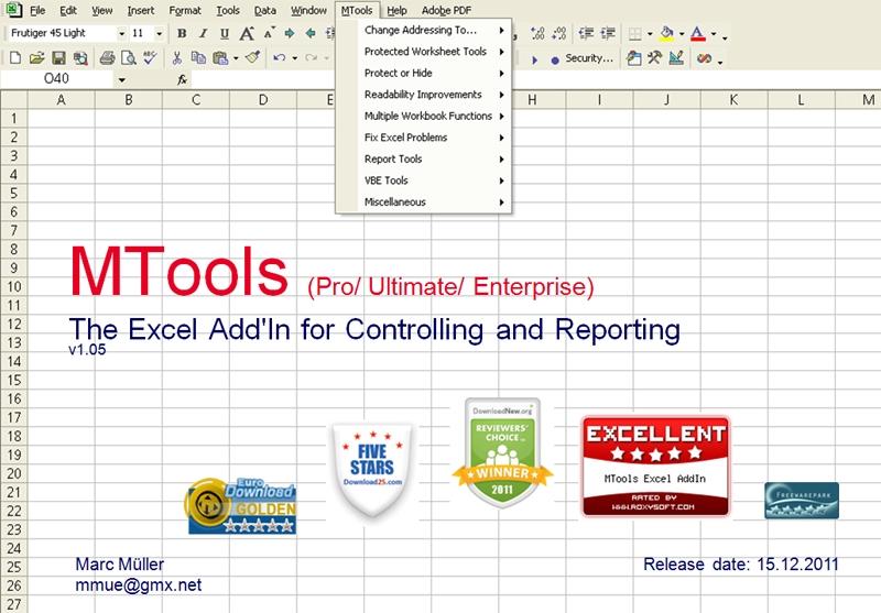 Click to view MTools Excel AddIn 1.045 screenshot