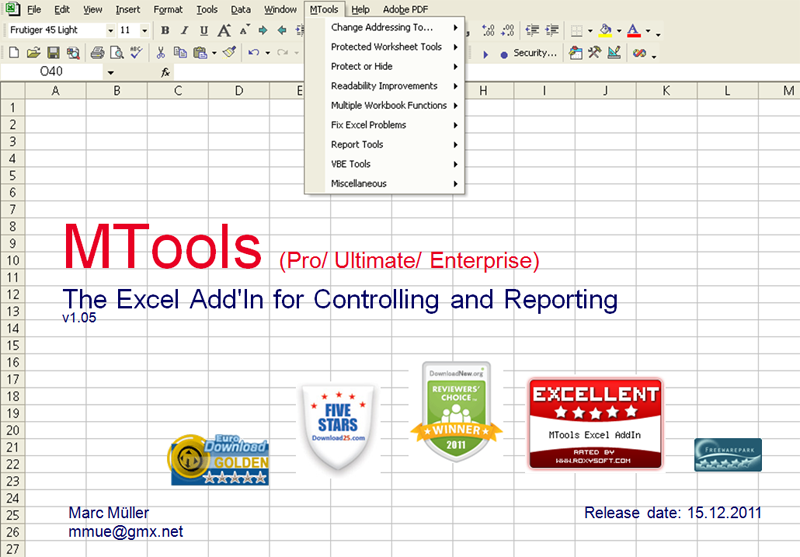 Click to view MTools Excel AddIn 1.052 screenshot