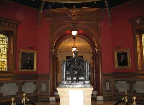 Statue of Abraham Lincoln, the Sixteenth President of the United States, in the Great Hall at the State House