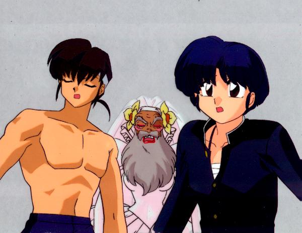 Akane Shinnosuke And His Grandfather Watching Ranma Try To Lure The Orochi Monster With Feminine Wiles This Is An Odd Cross Dressing Episode