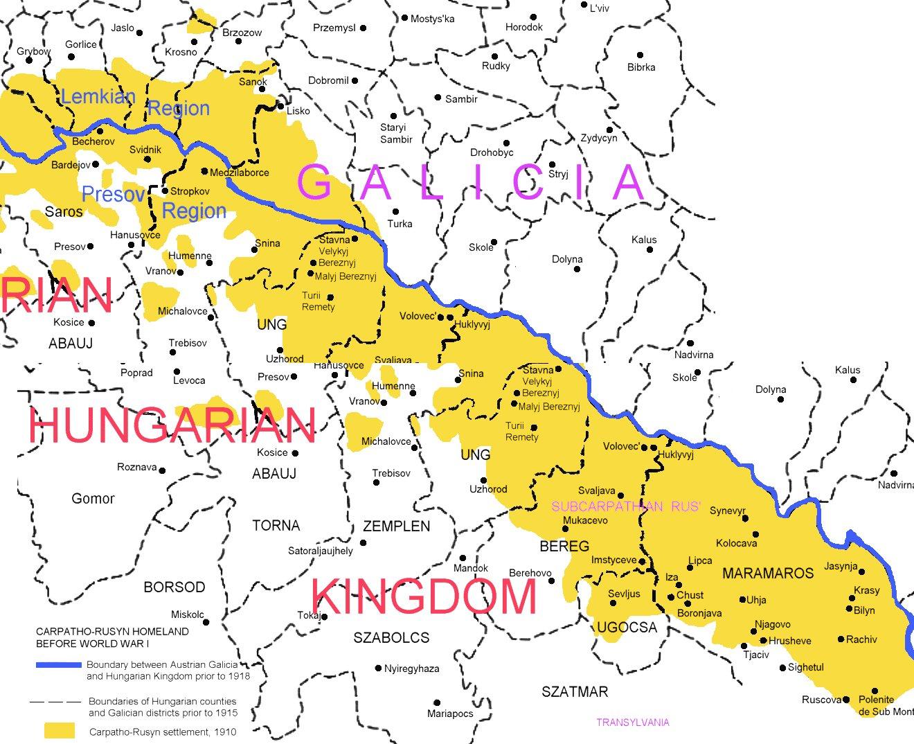 Ruthenia Map Galicia Map Rusyn Map Carpatho Russia Map