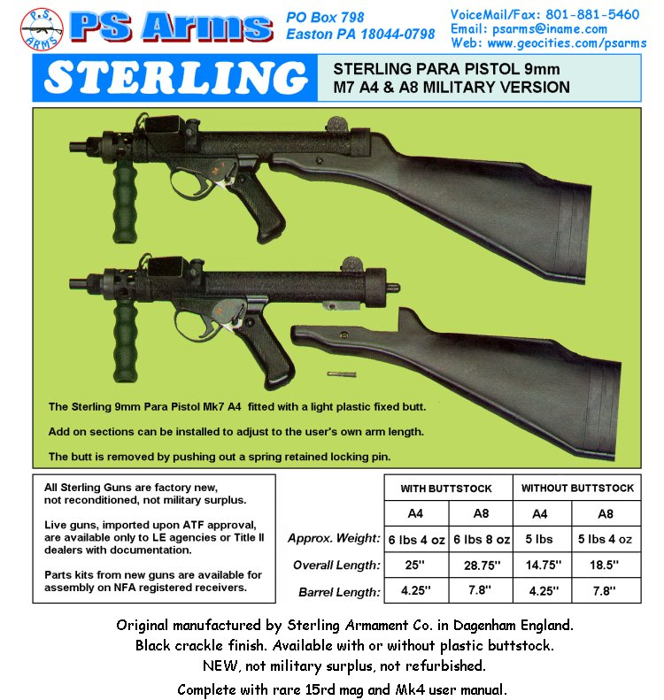 PS Arms Sterling Price List