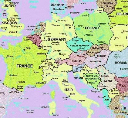 Europe - Map of austria and italy