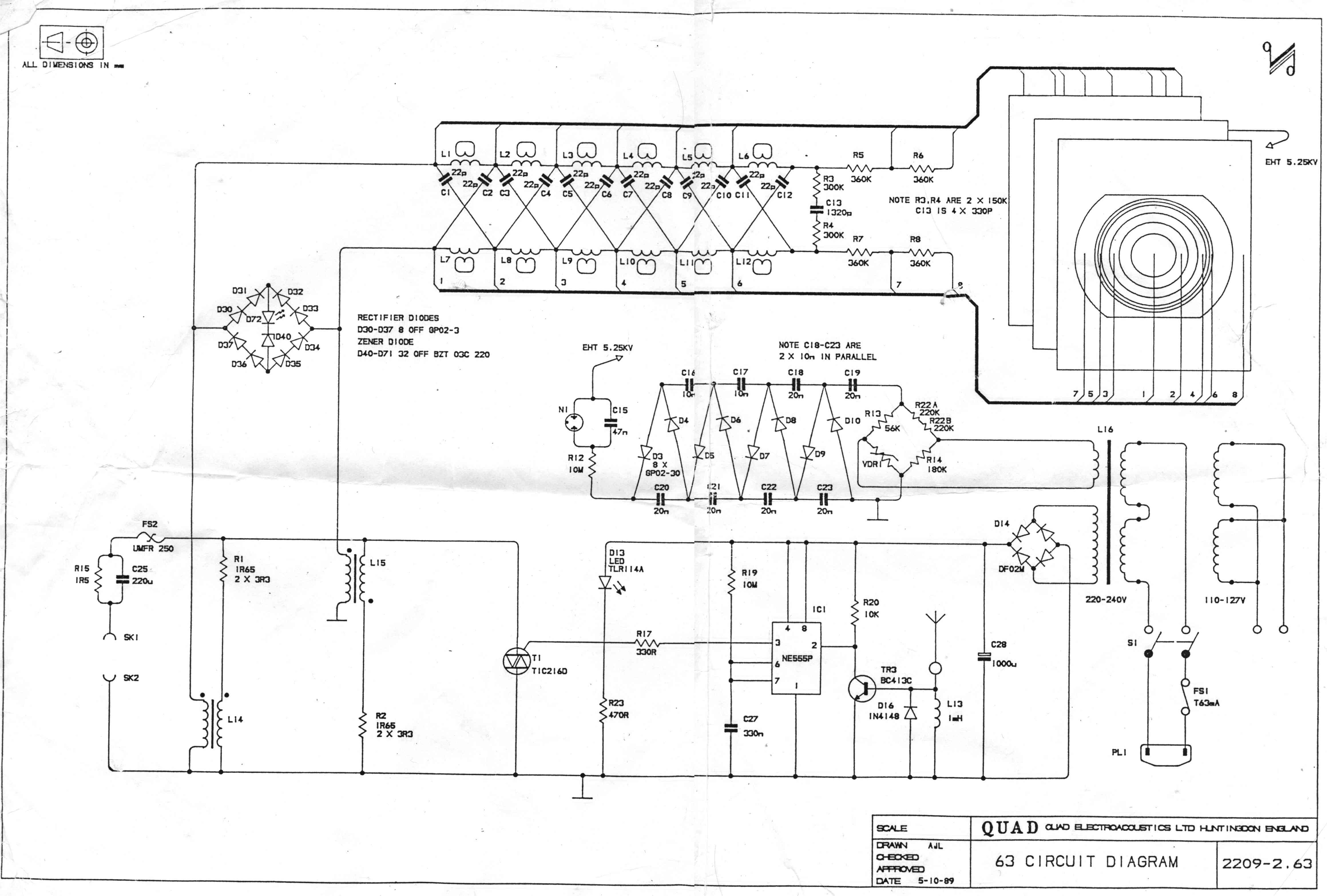 esl63 Quad Schematic on guitar pedal, electronic circuits, metal detector, star trek, high voltage, tube guitar amp, block diagram,
