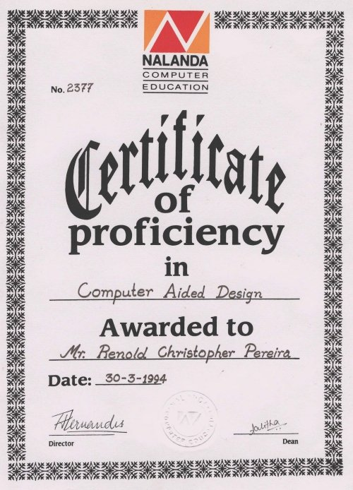Welcome to renold pereira cad tdc coordinator designer march 1994 view certificate yelopaper Image collections