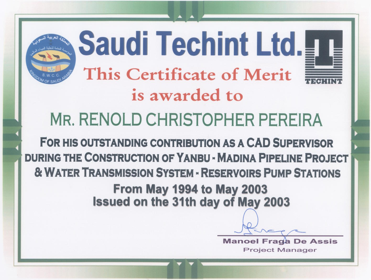 Welcome to renold pereira cad tdc coordinator designer 1998 2003 professional certificate over all projects certificate yadclub Images