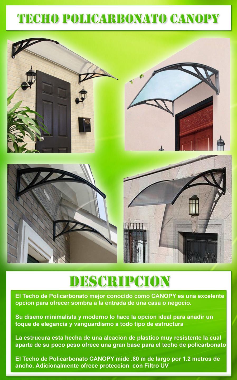 Techo de policarbonato canopy 80 x 1 2 m 1300 c1lxx - Techos de policarbonato precios ...