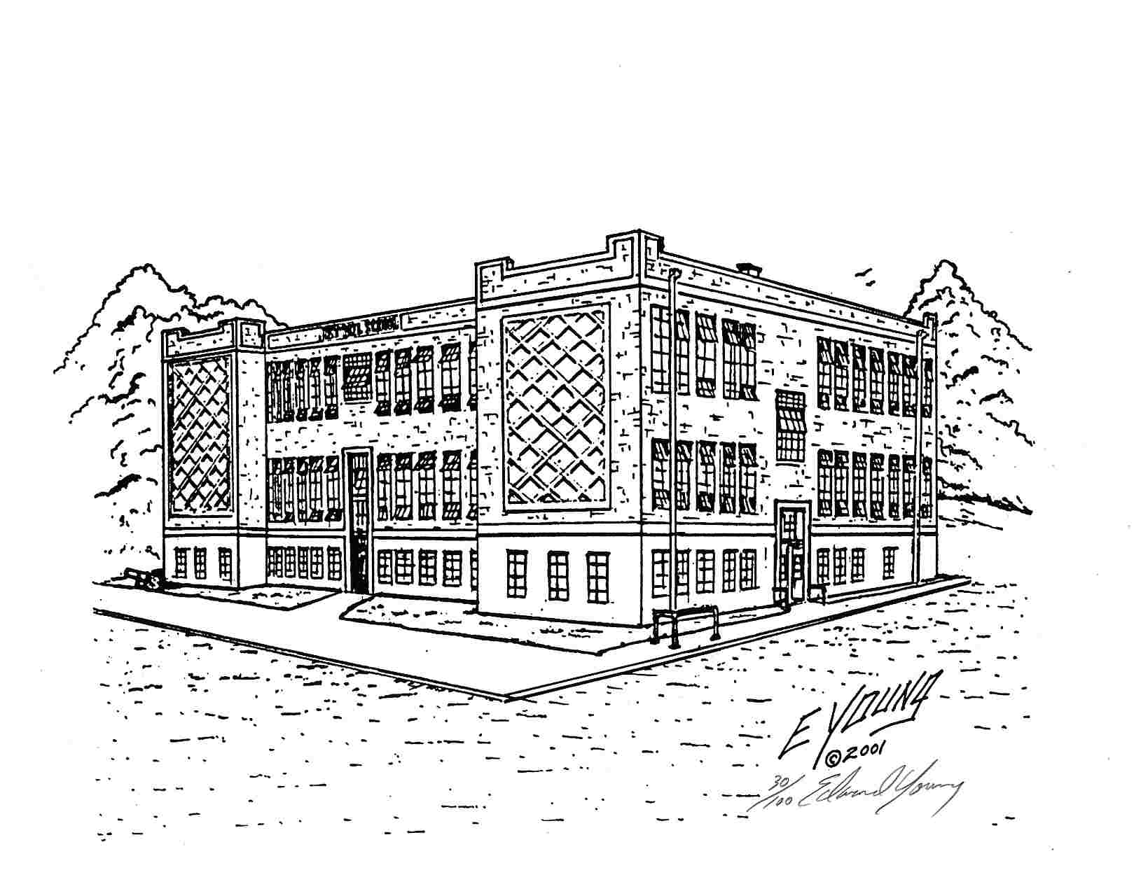 how to draw a high school building