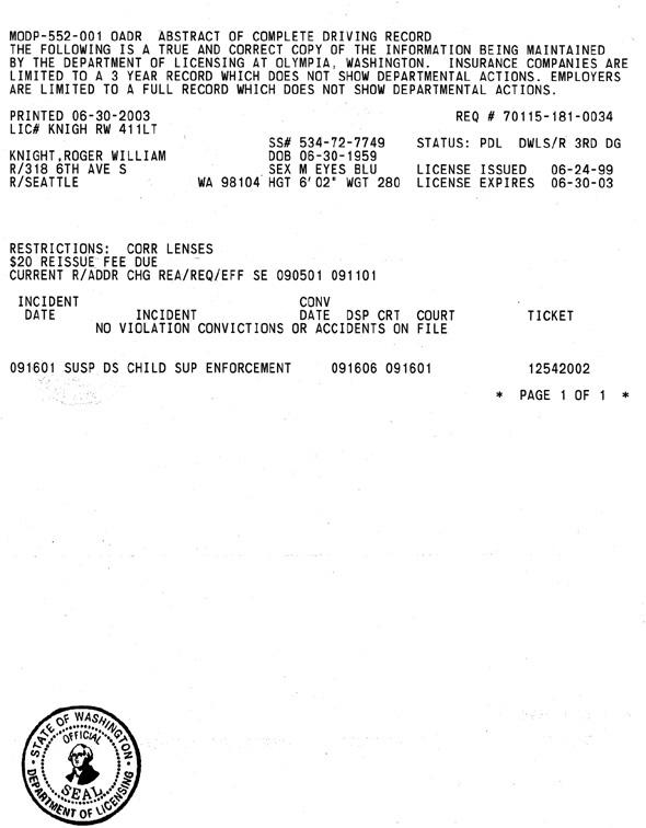 Washington department of motor vehicles driving record for Department of motor vehicles records