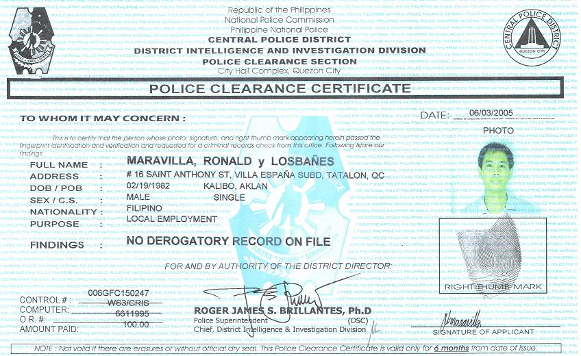 how to get a police clearance from usa