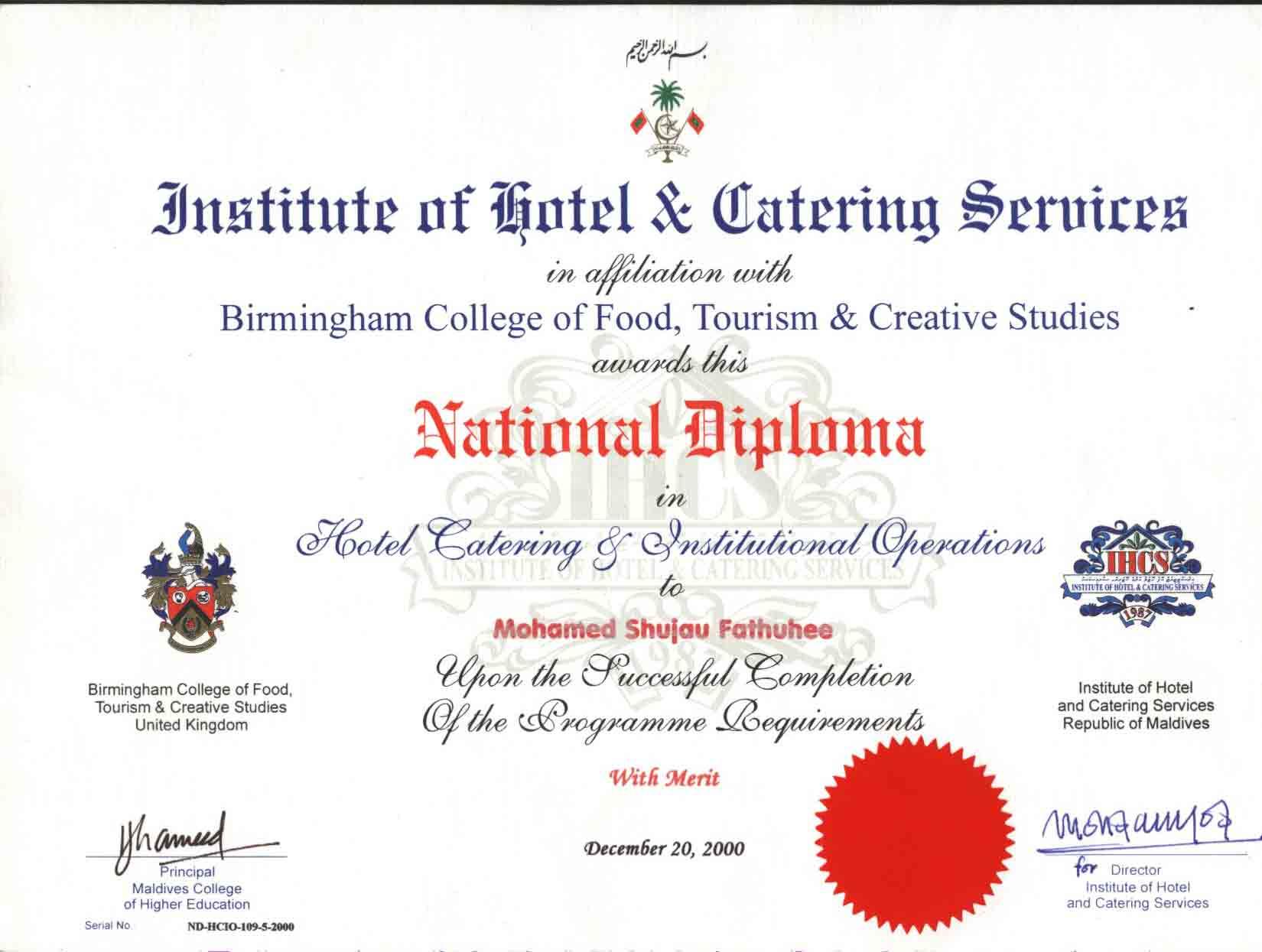 deploma certificate
