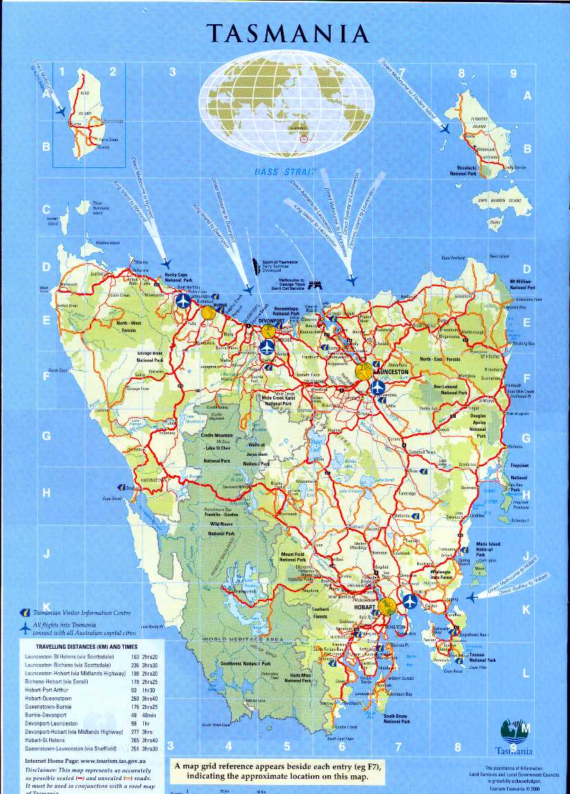 . map of tasmania