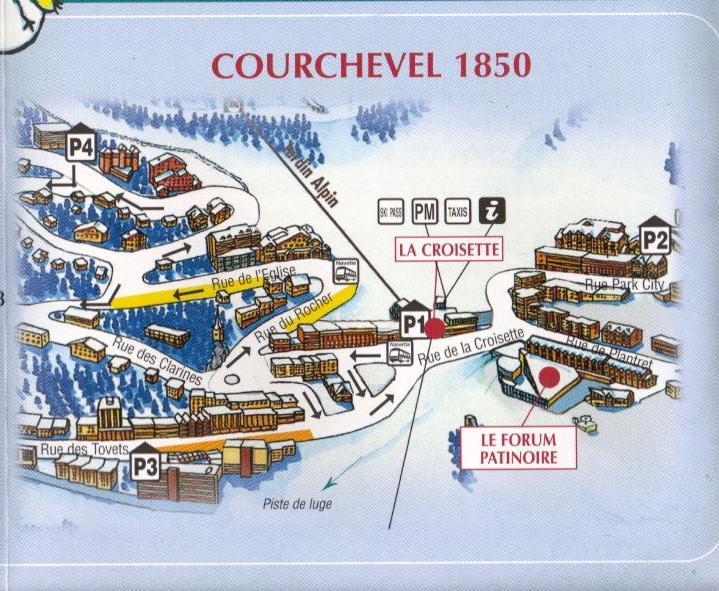 ROAD MAP of COURCHEVEL 1850 ski accommodation to rent map and