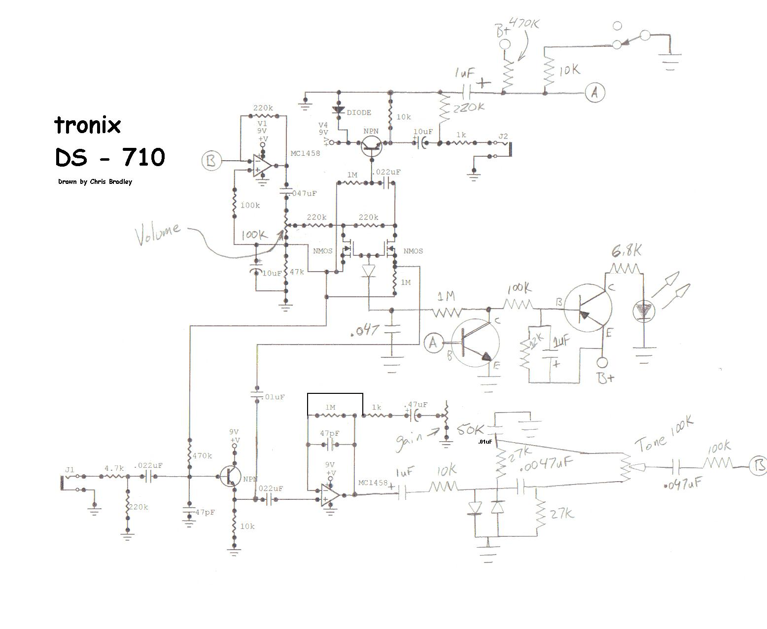 Schematics Distortion Pedal Tronix Ds 710 Schematic