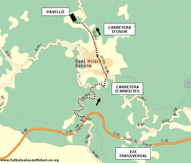 Sant Hilari Sacalm Mapa.Club Futbol Sala Sant Hilari Mapa D Acces A Sant Hilari